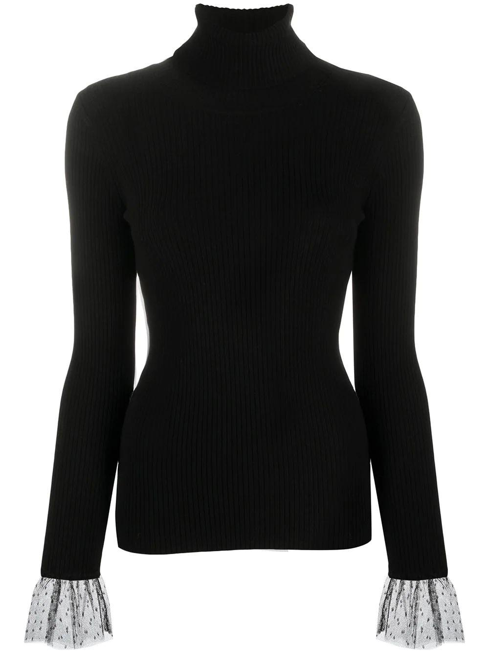 Turtleneck Sweater With Tulle Cuff