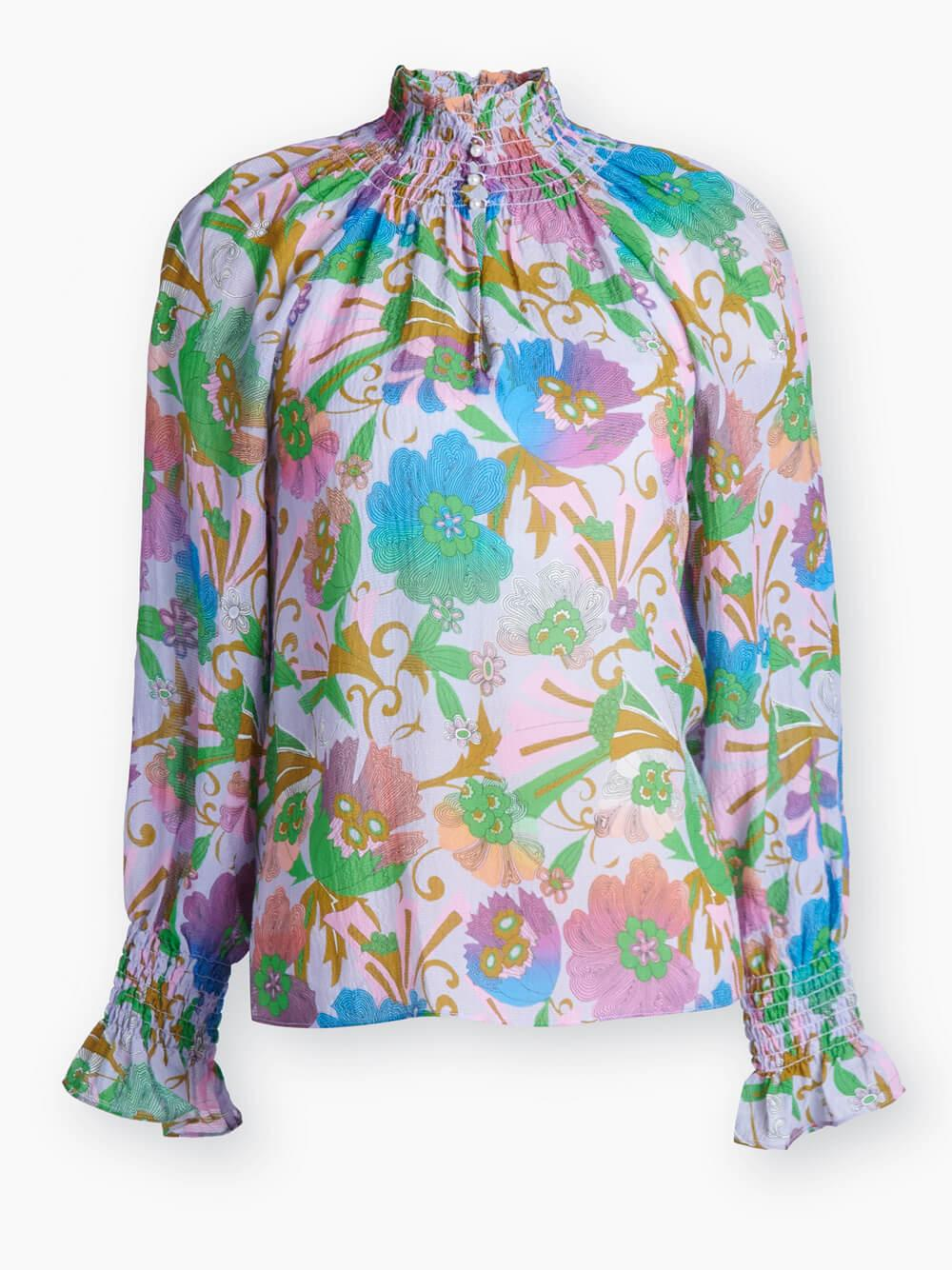 Alexis Fan Floral Printed Blouse Item # F20T547163
