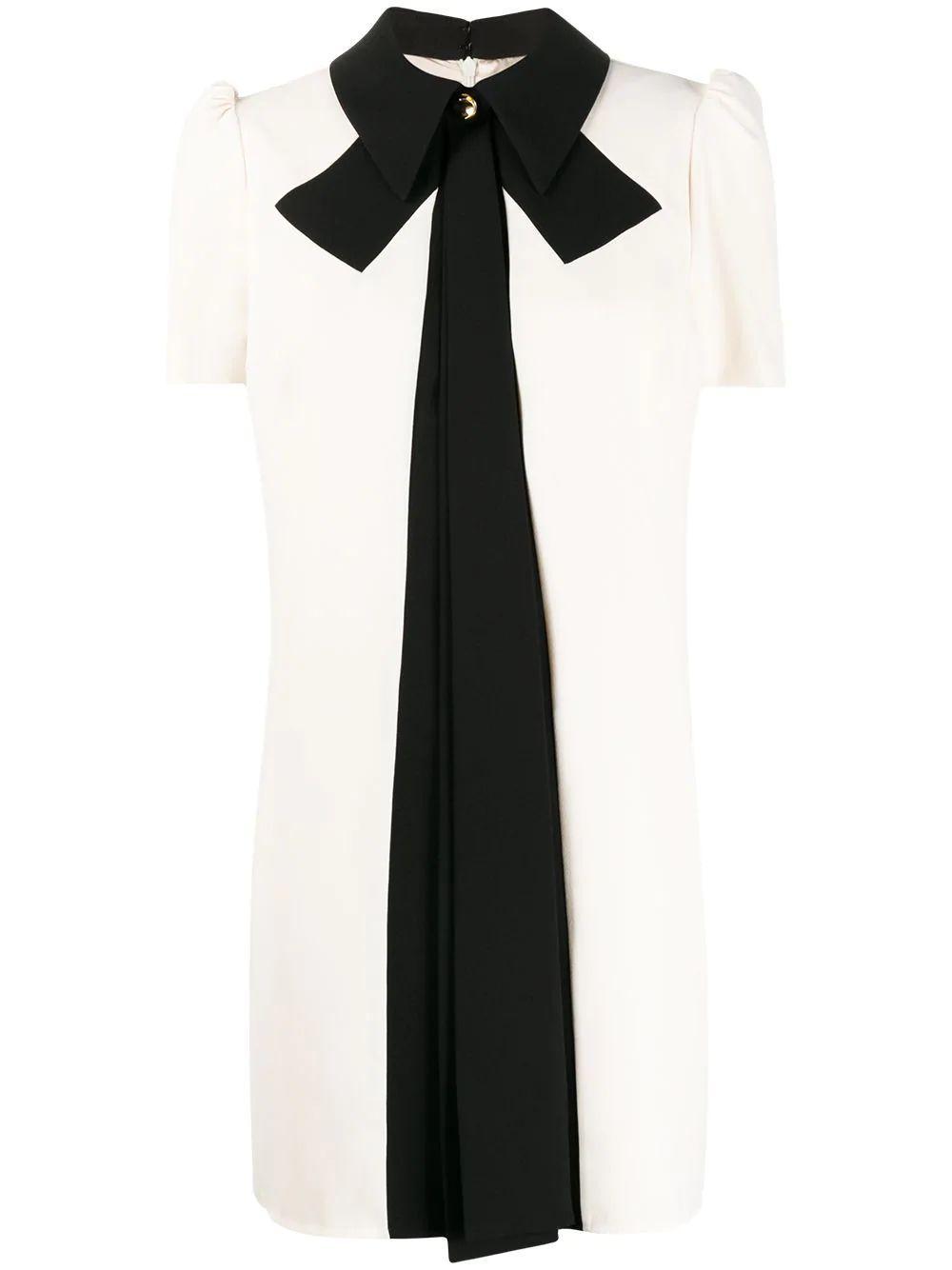Bow Collar Two-Tone Dress