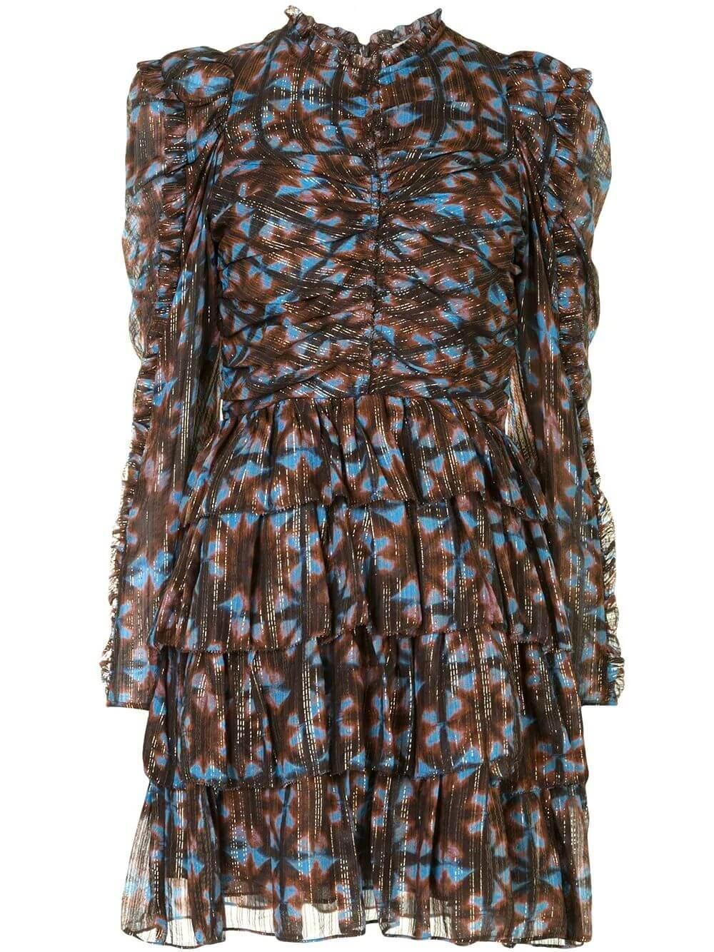 Siya Puff Sleeve Ruffle Skirt Dress Item # FA200123