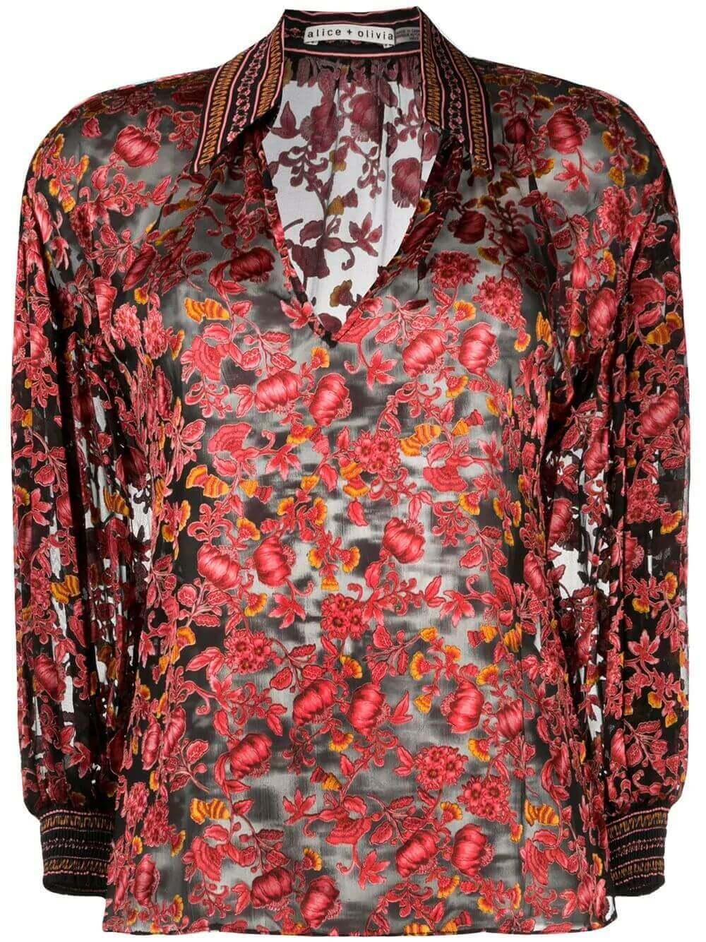 Desiree Printed Collared Blouse