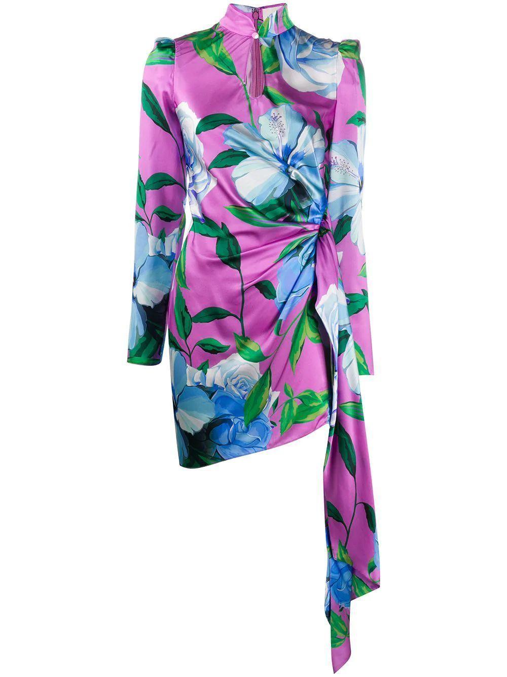 Floral Print Silk Mini Dress Item # 115DR-105
