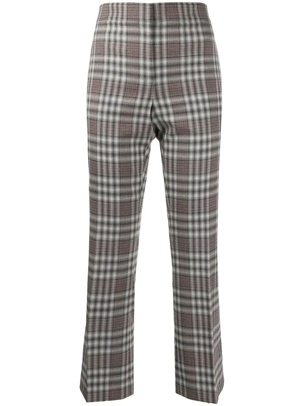 Plaid Crop Flare Kick Pant Item # K0601209