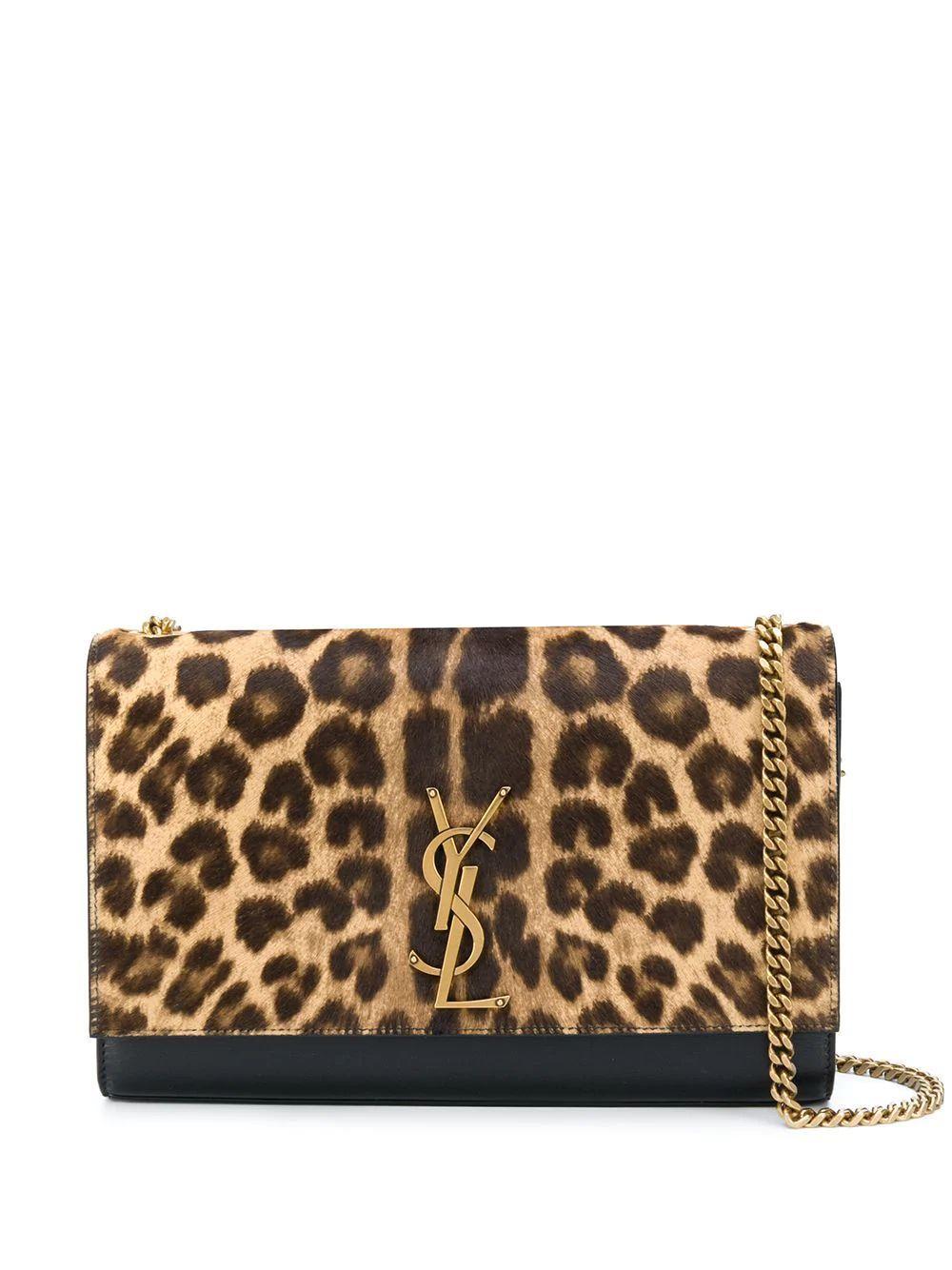 Kat Leopard Flap Logo Bag