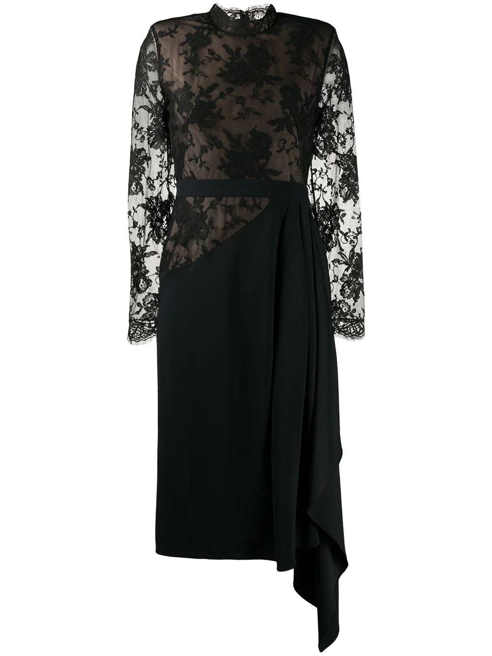 Lace Inset Asymmetrical Dress