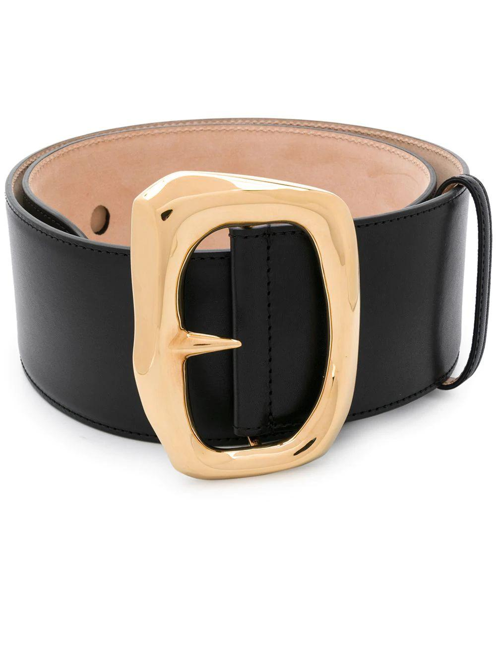 Molten Buckle Leather Belt