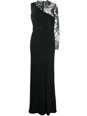 One Sleeve Lace Insert Long Dress