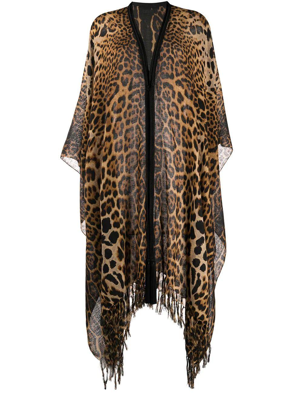 Leopard Print Wool Poncho