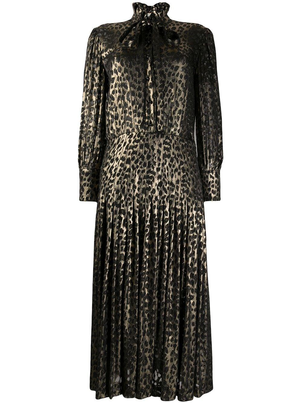 Button Front Pleated Leopard Dress Item # 632448Y725V