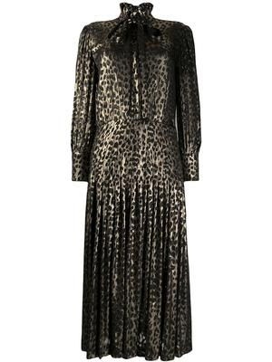 Button Front Pleated Leopard Dress