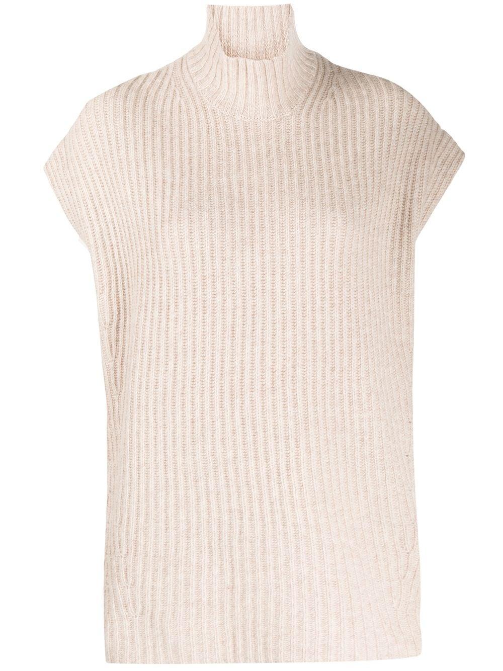 Sleeveless Rib Knit Sweater Item # K1405