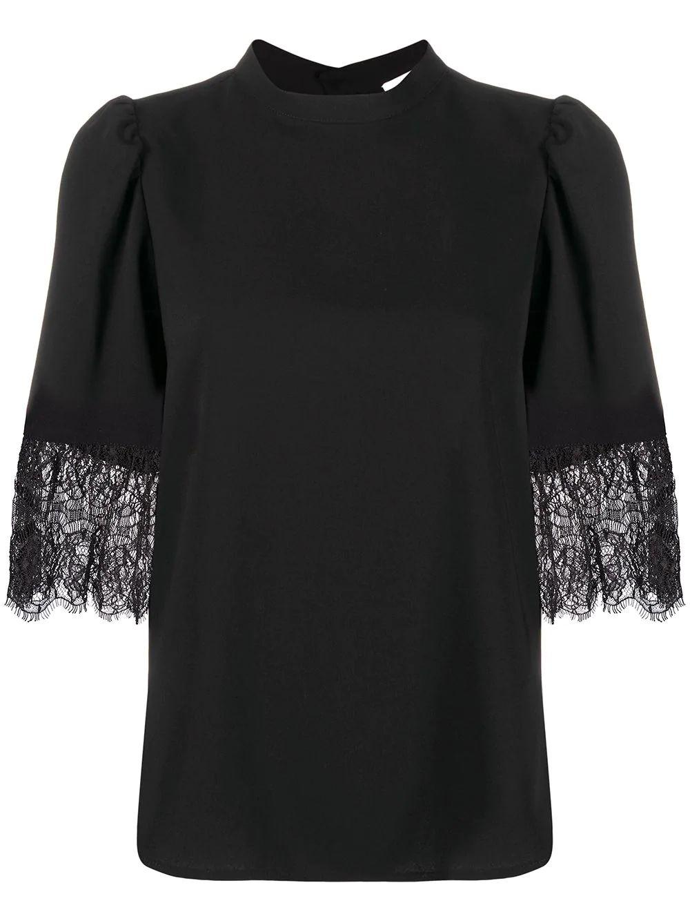 Lace Cuff Crepe Blouse Item # CHS20AHT23012