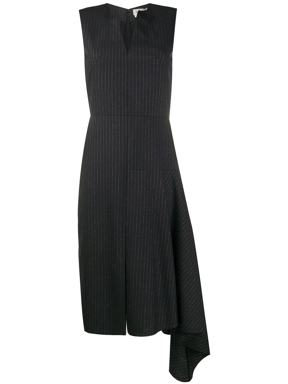 Pinstripe Dress With Side Drape