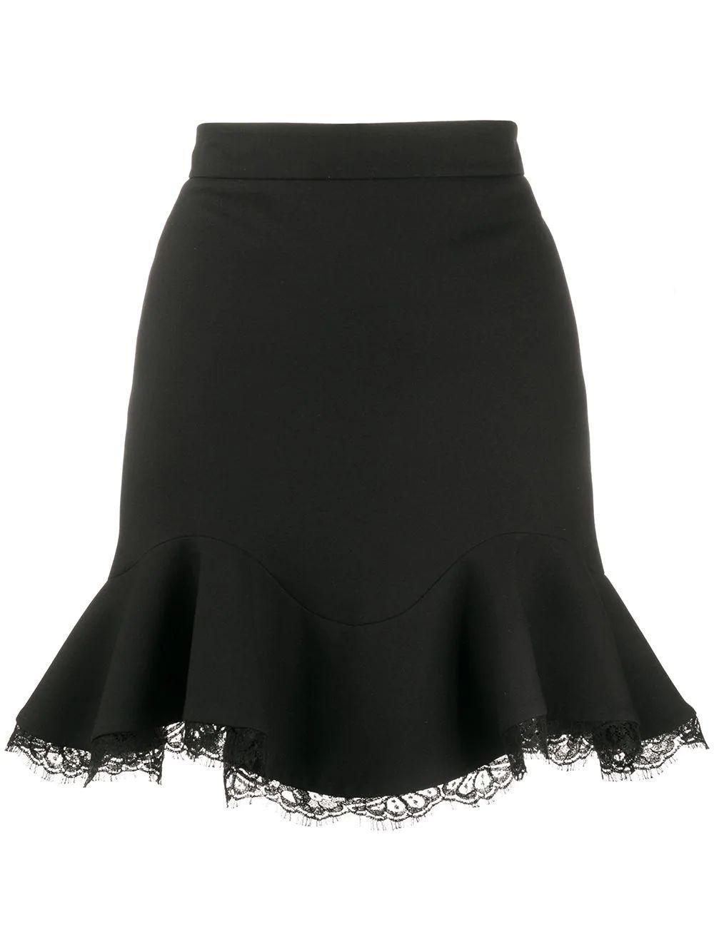 Lace Trim Flounce Skirt