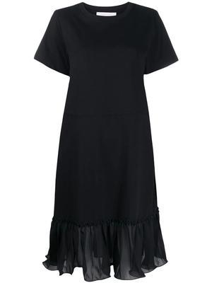Ruffle Detail Drawstring T-Shirt Dress
