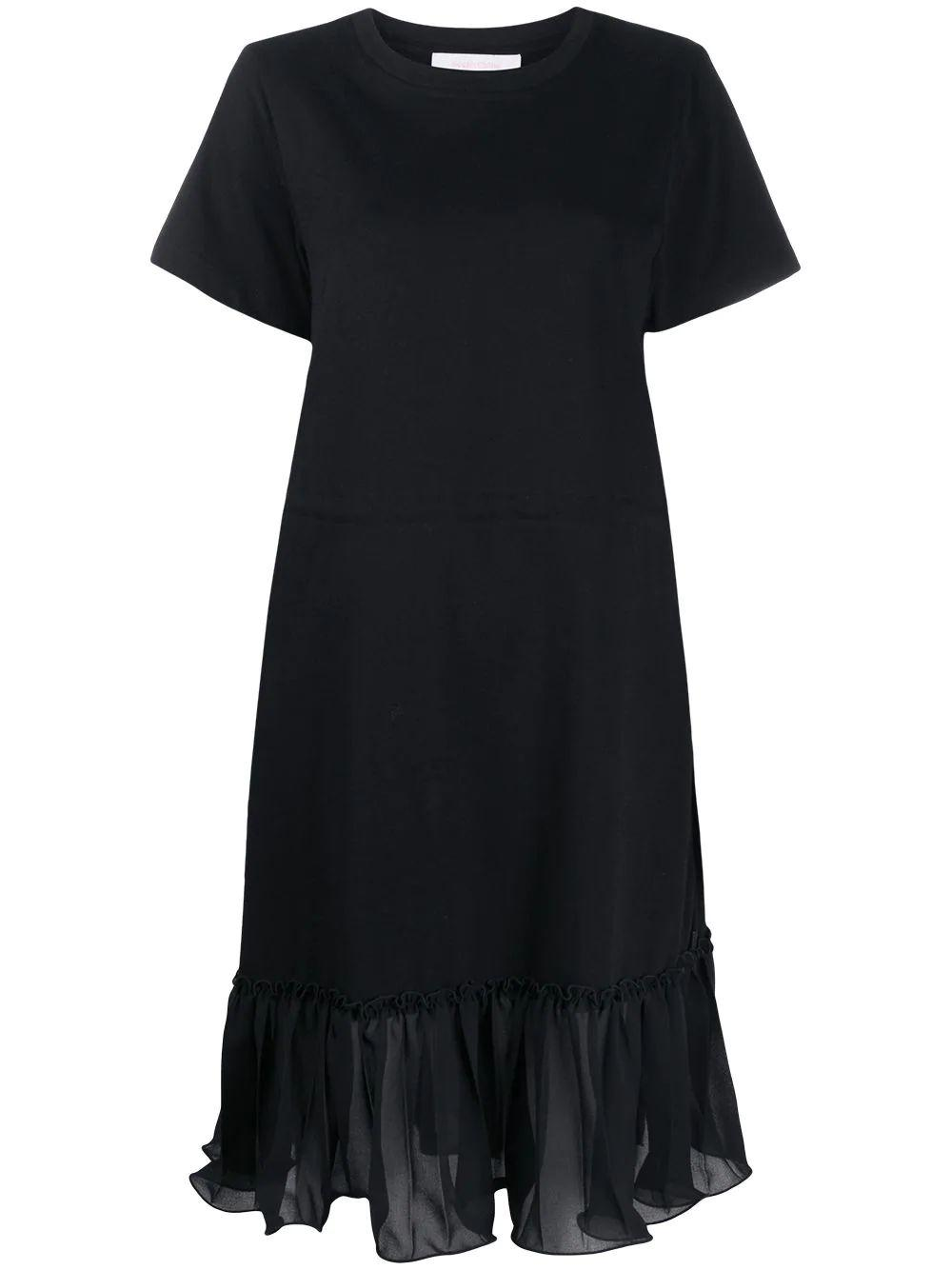 Ruffle Detail Drawstring T-Shirt Dress