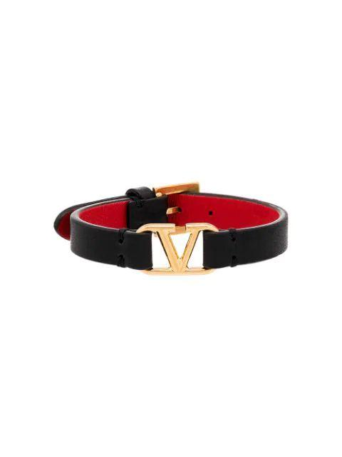 V-Logo Leather Bracelet