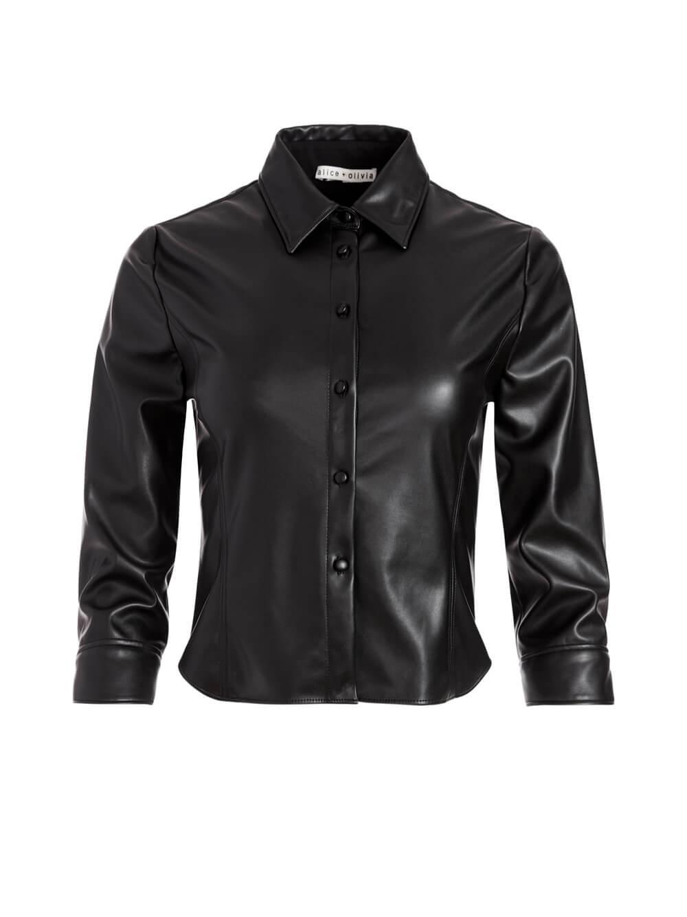 Nadine Vegan Leather Blouse Item # CC008J22032