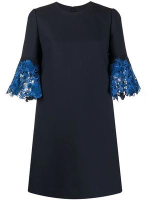 Lace Trim Bell Sleeve Shift Dress