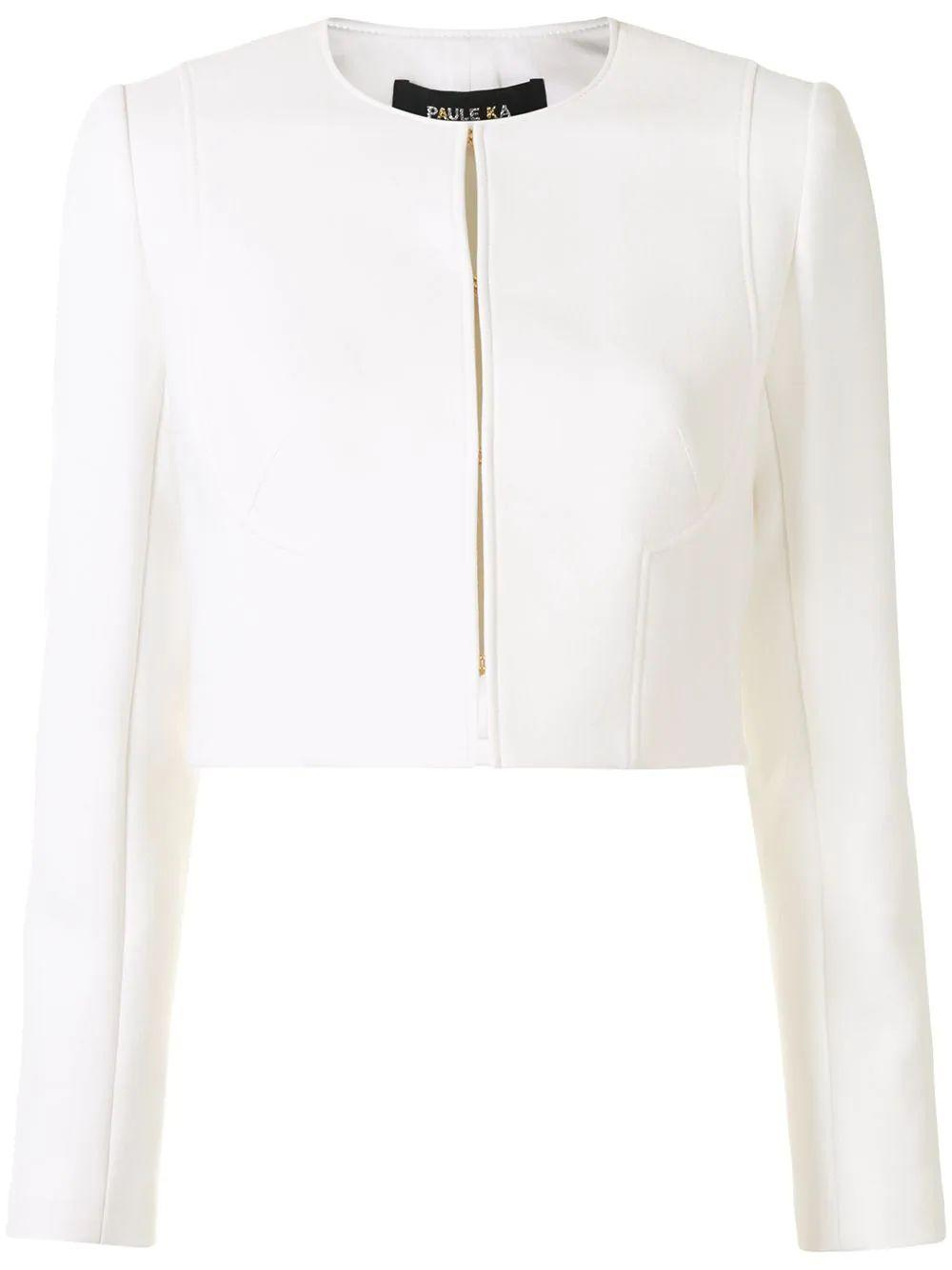 Collarless Cropped Jacket
