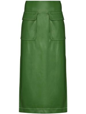 Burn Vegan Leather Midi Skirt