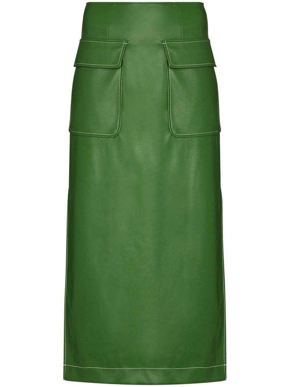 Burn Vegan Leather Midi Skirt