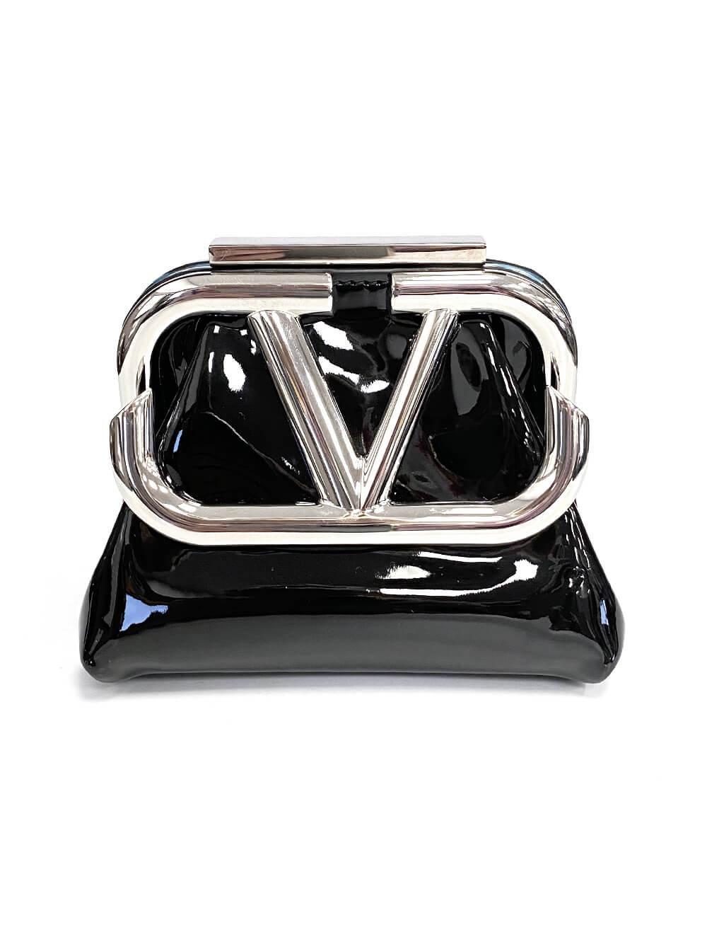 V-Logo Mini Clutch With Chain Strap