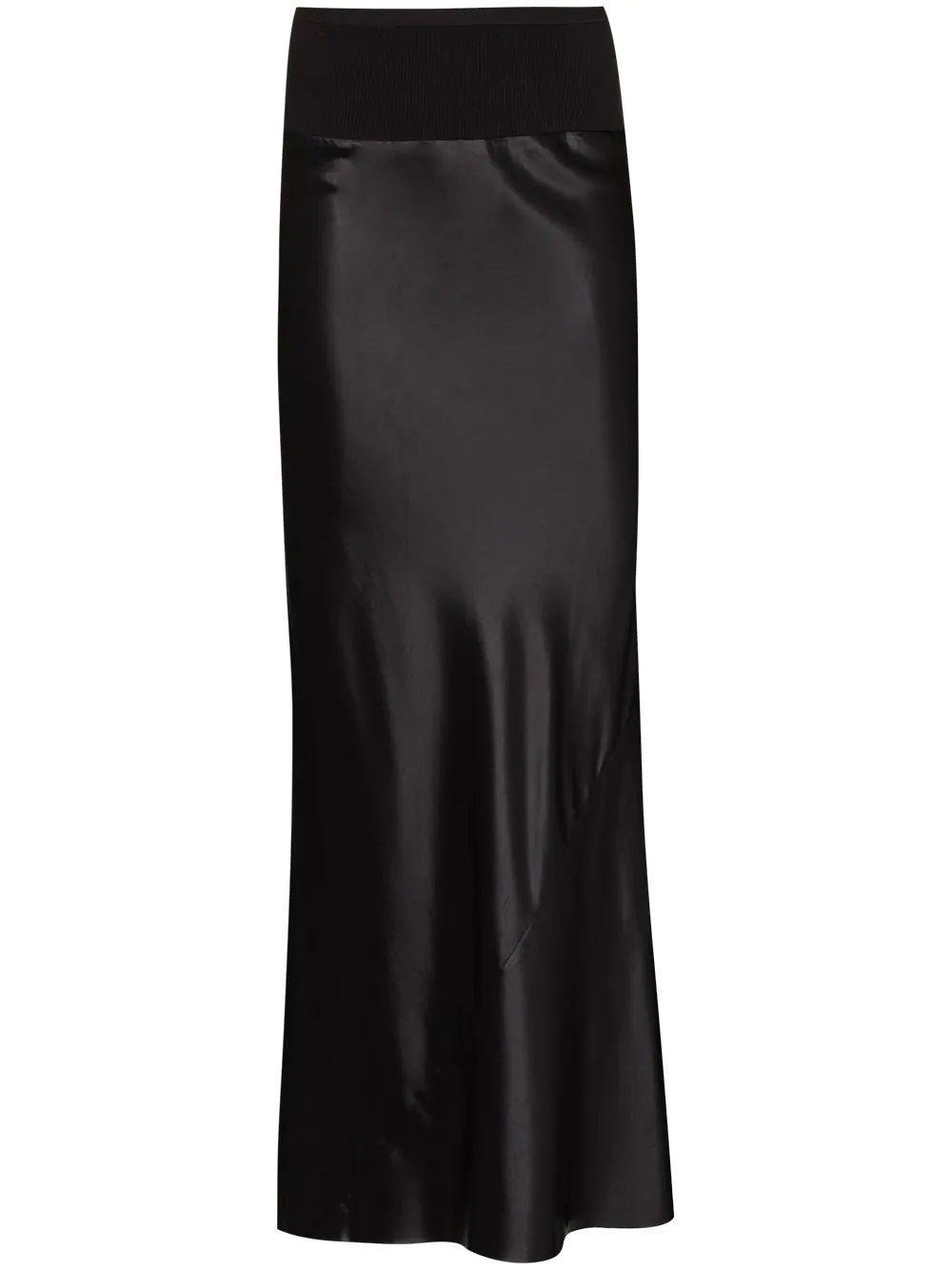 Liquid Leather Calf Length Skirt