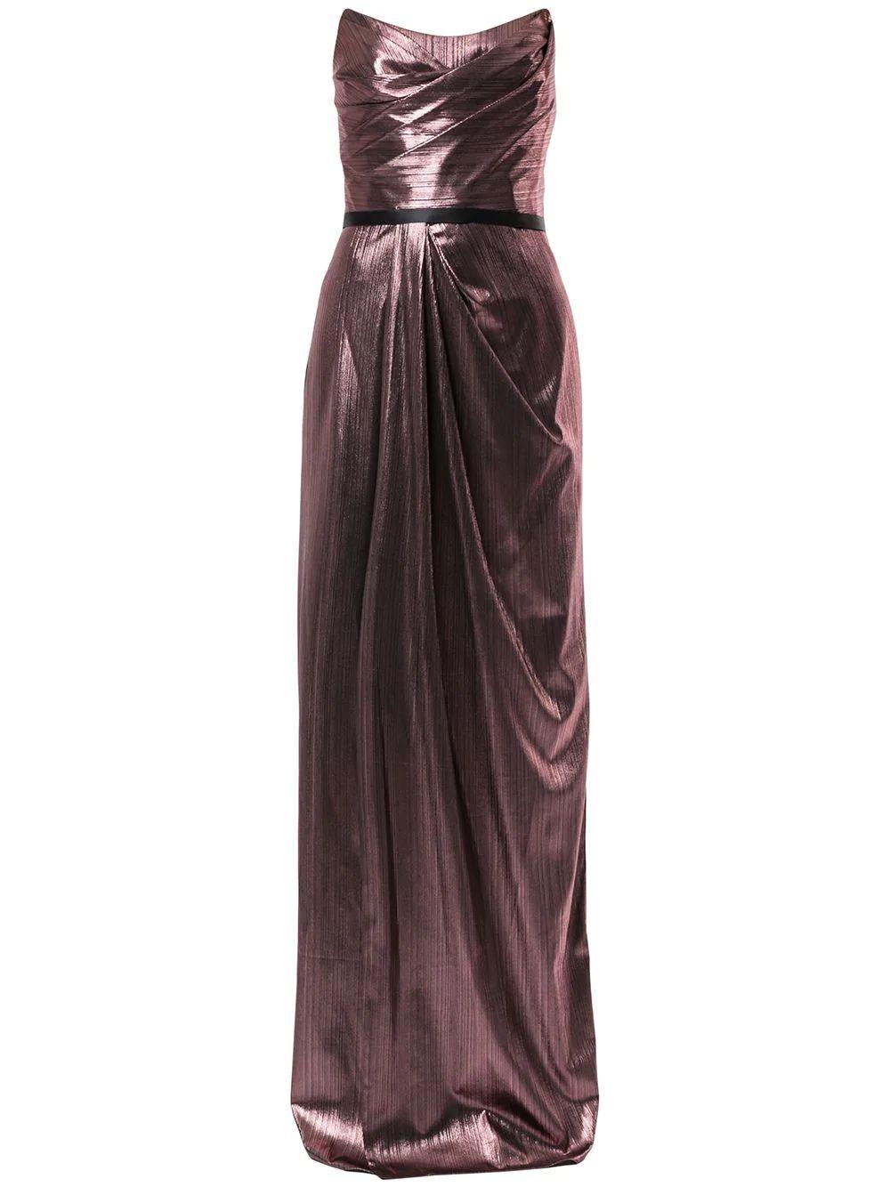 Metallic Gown With Side Slit