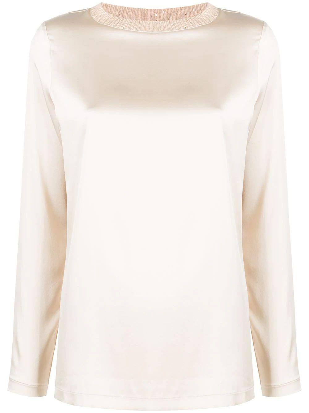 Silk Blouse With Embellished Neckline