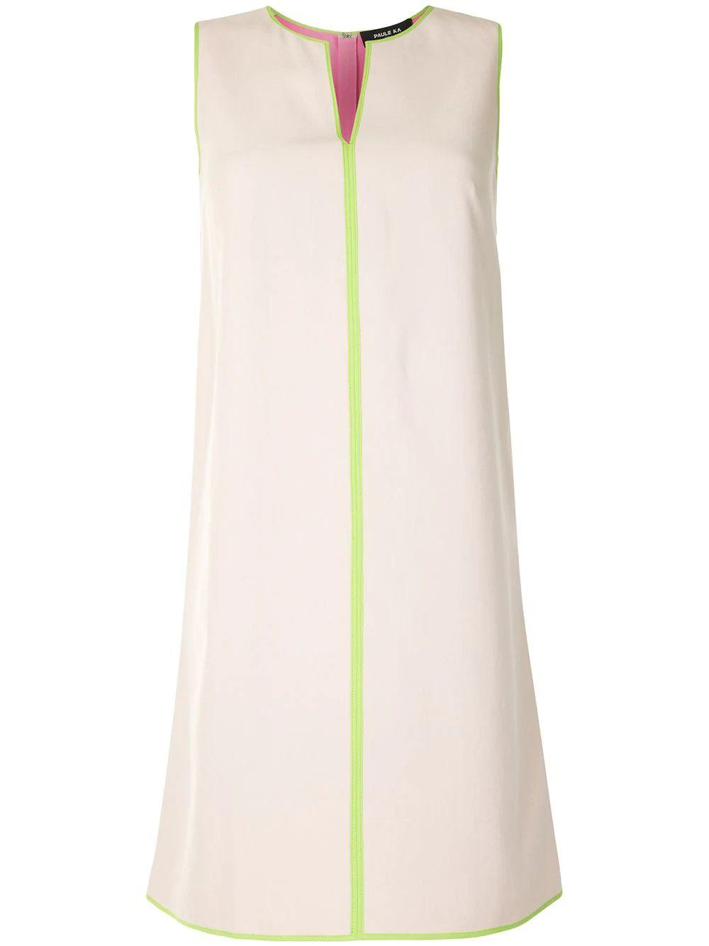Contrast Piping V-Neck Dress