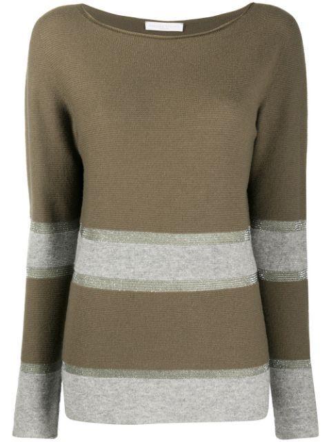Long Sleeve Stripe Crew Neck Sweater Item # MAD220W066