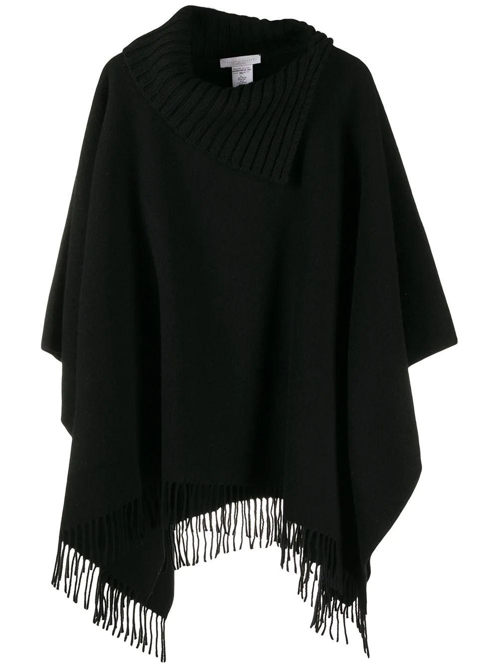 Fringe Trim Poncho Item # SAD220W475