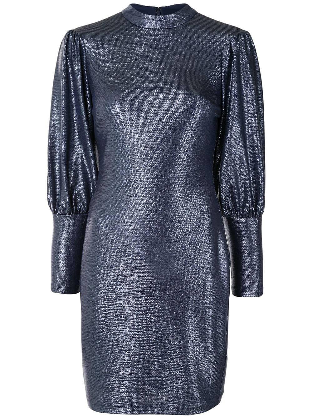 Mock Neck Shimmer Dress