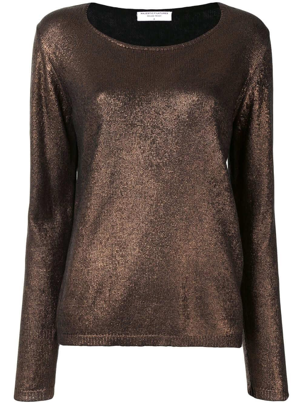 Metallic Crew Neck Sweater