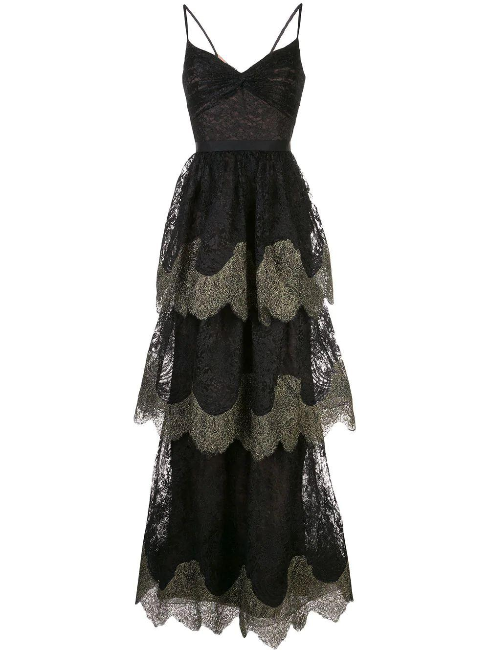 Metallic Scallop Lace Gown Item # N41G1965