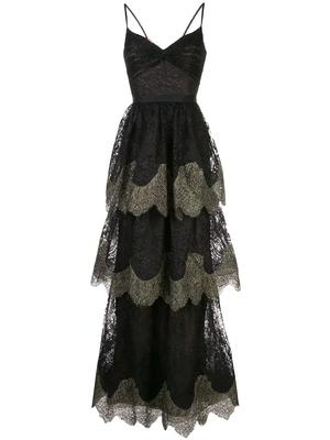 Metallic Scallop Lace Gown