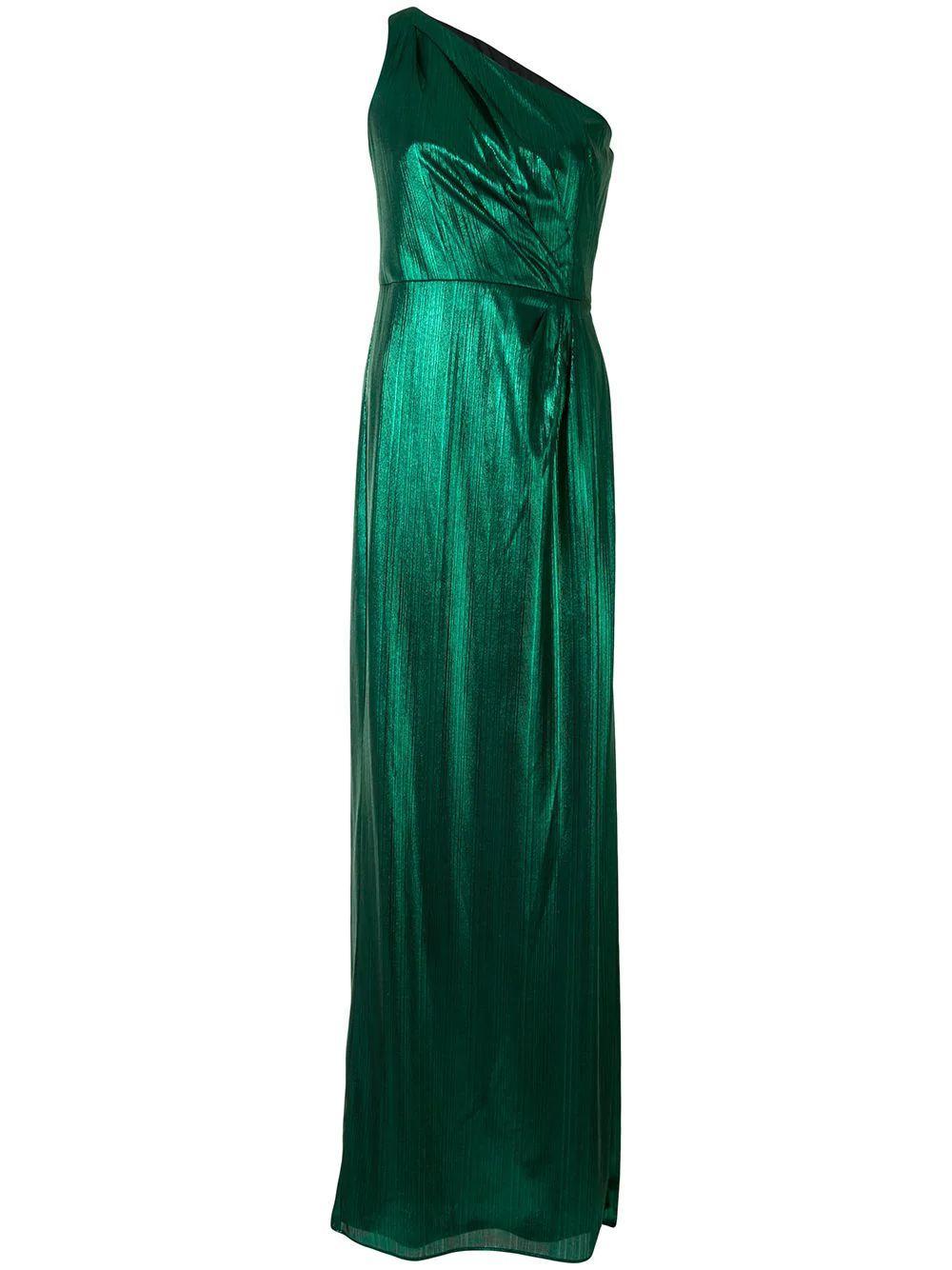 One Shoulder Metallic Gown