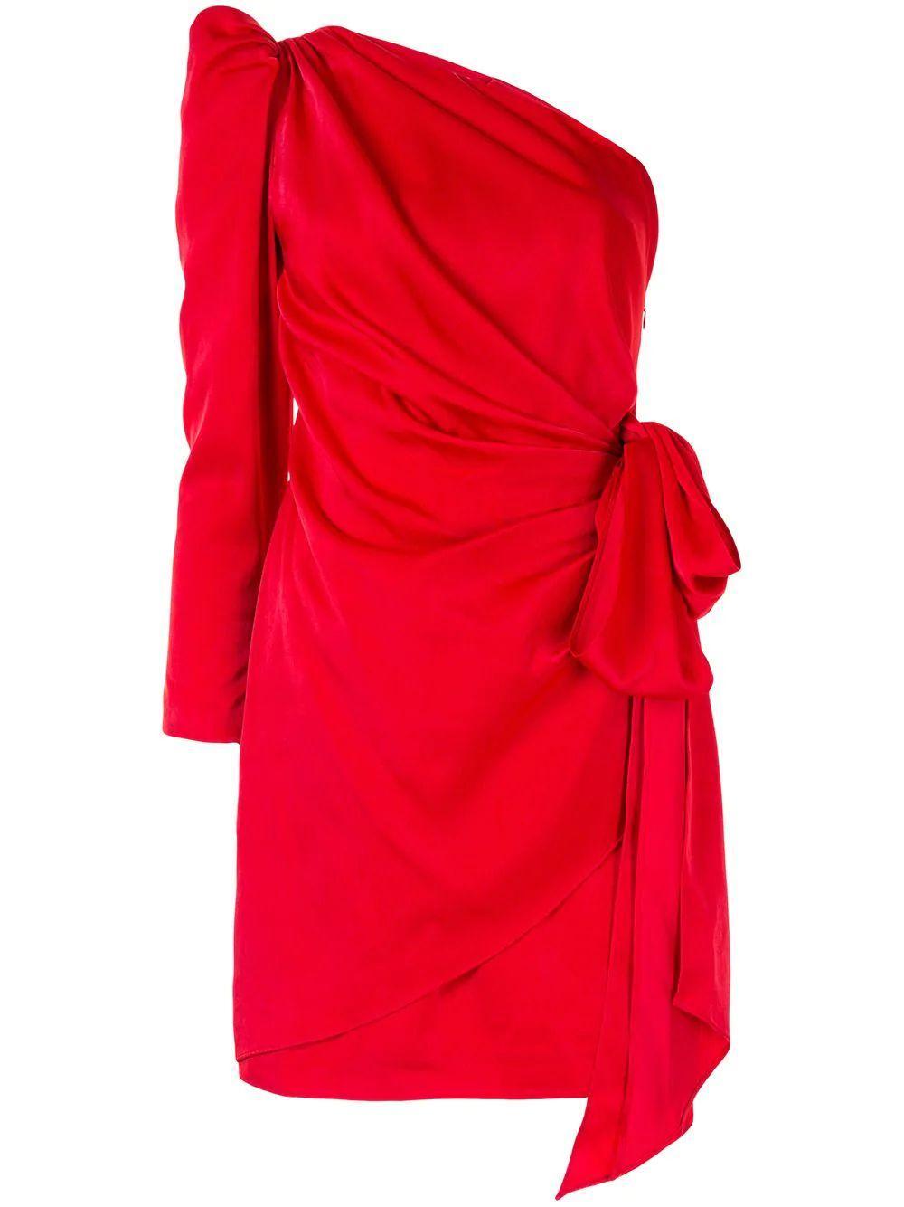 Draped One Shoulder Cocktail Dress