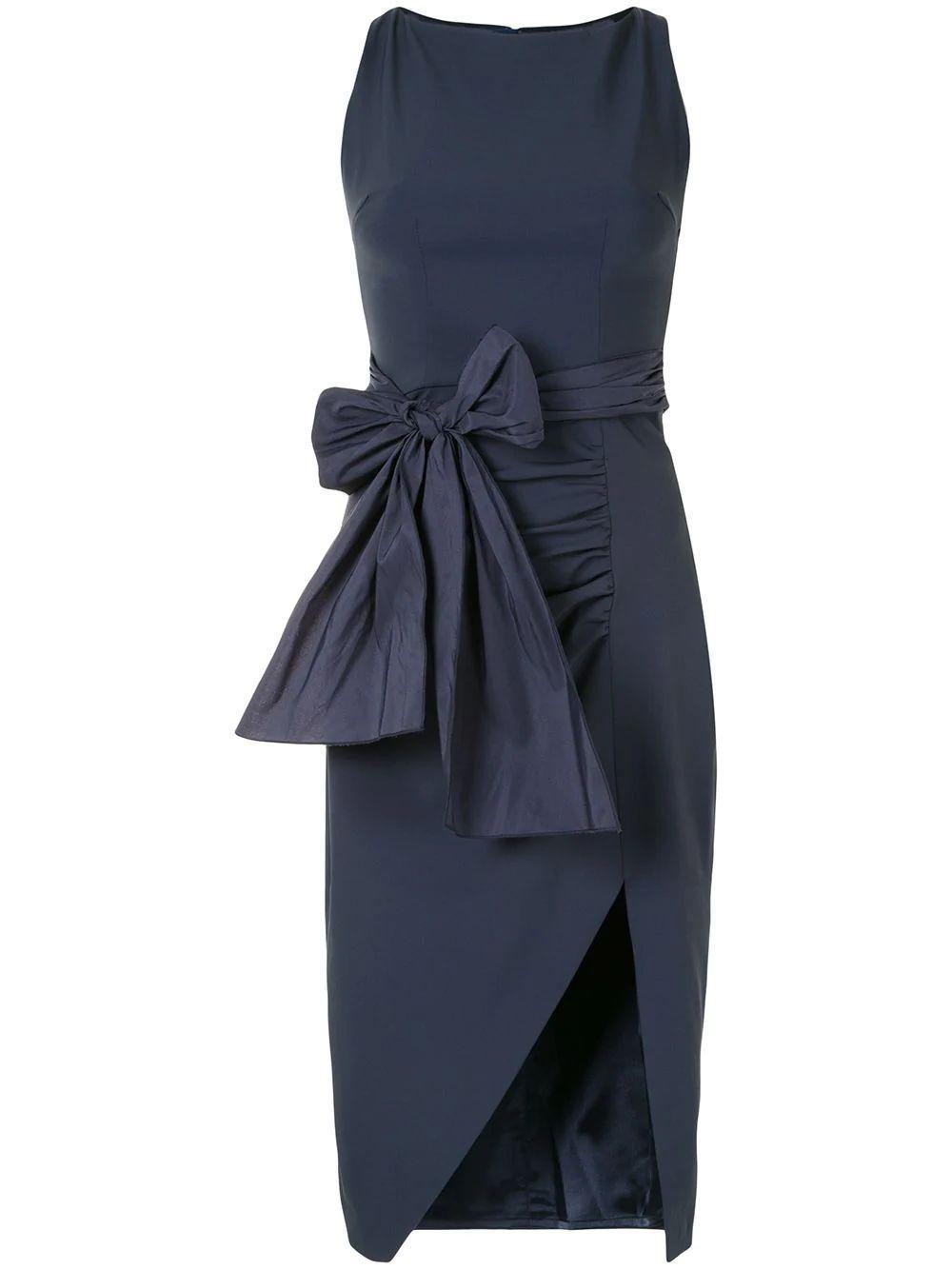 Slit Dress With Bow Belt