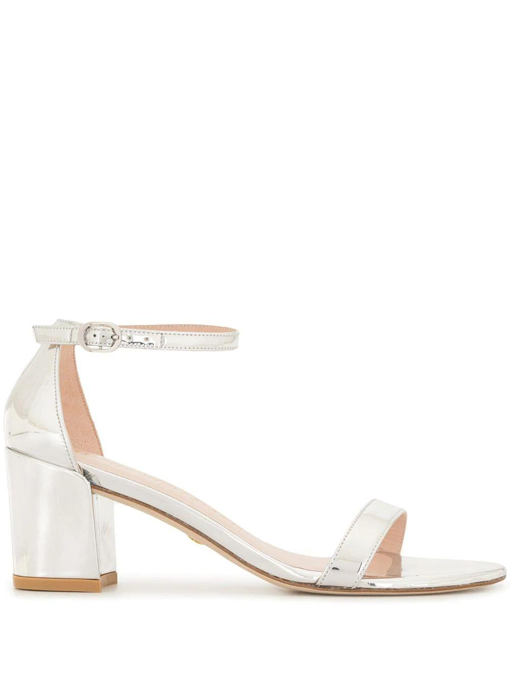 Simple Metallic Block Heel Sandal