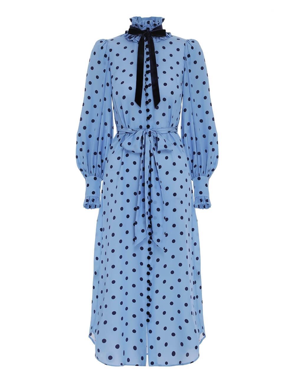 Silk Frill Collar Midi Dress Item # 9258DRLAD