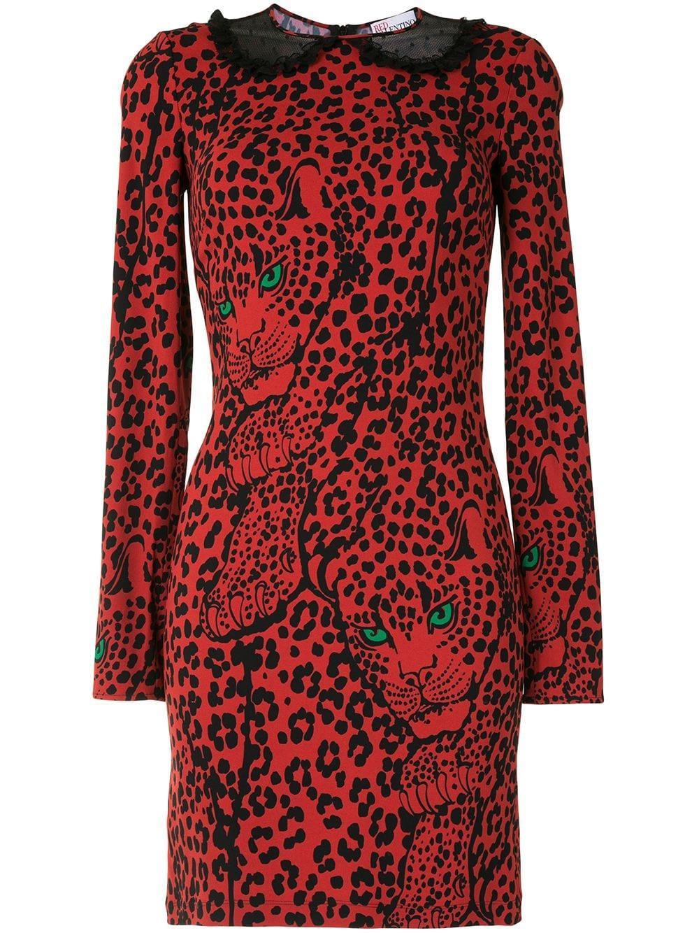 L/S Leopard Mini Dress W/Collar Item # UR3VAR1557C