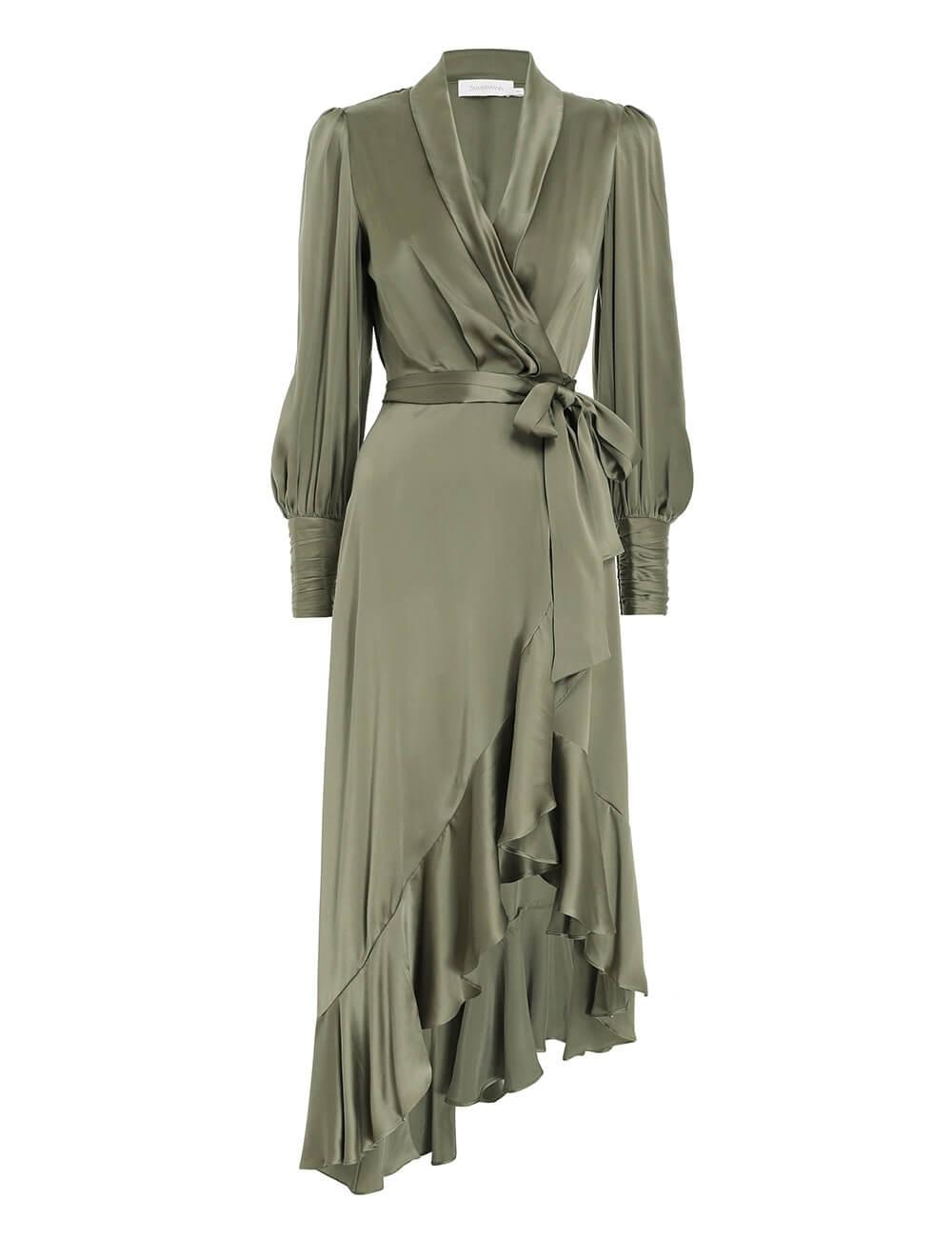 Silk Wrap Midi Dress Item # 8066DRLAD