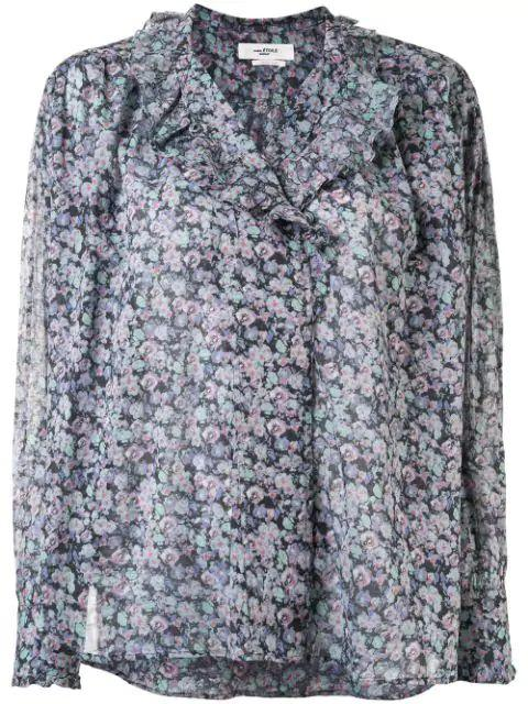 Pamias High Neck Voile Printed Blouse