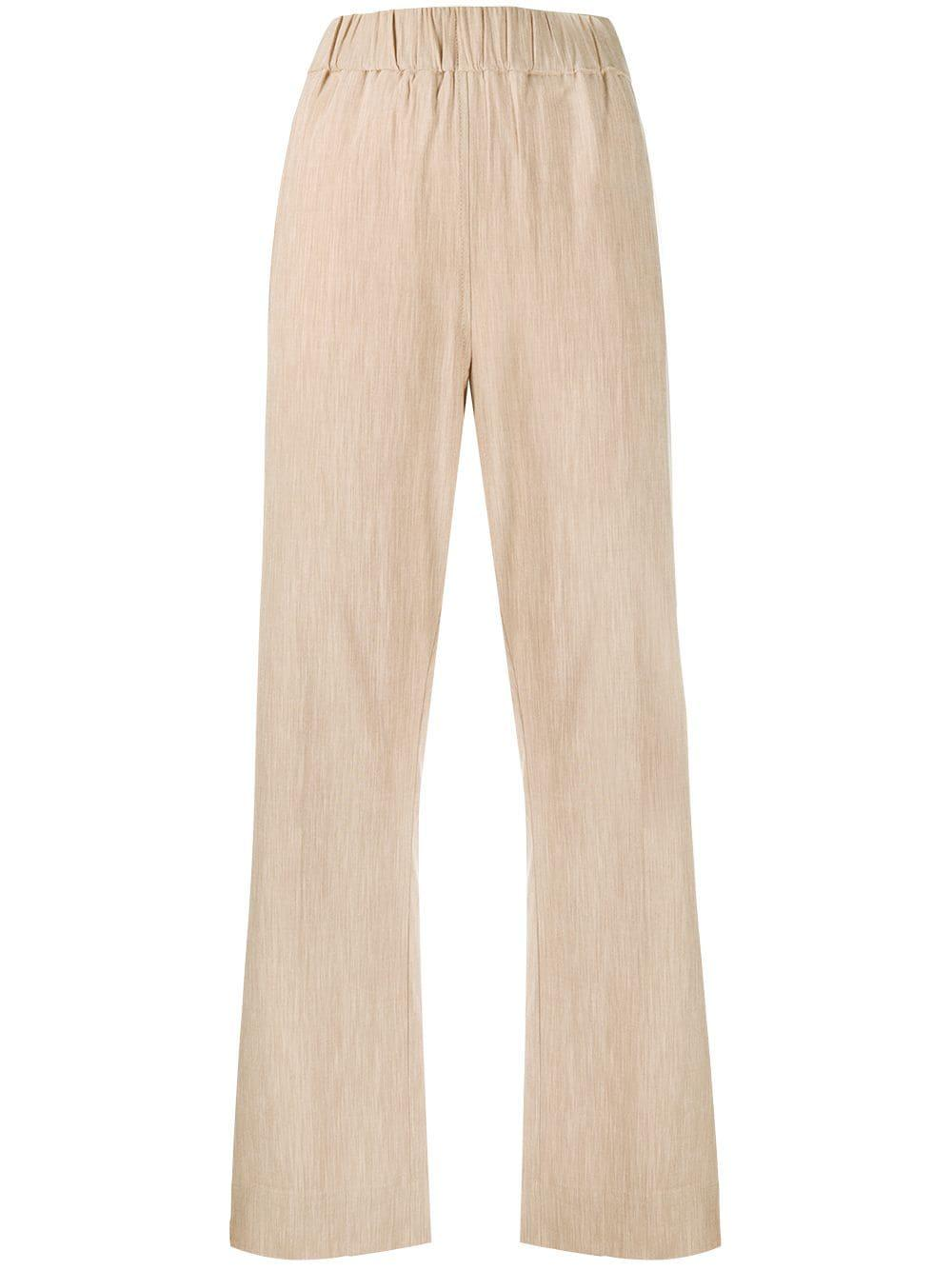 Melange Suiting Elastic Waist Pants