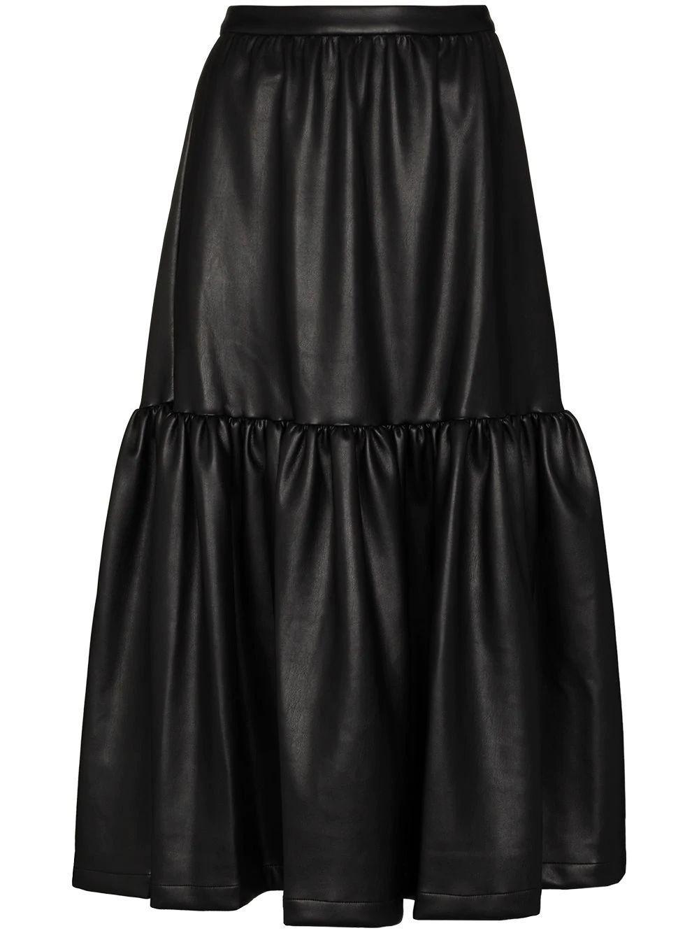 Orchid Vegan Leather Midi Skirt Item # 259-4075-WHI