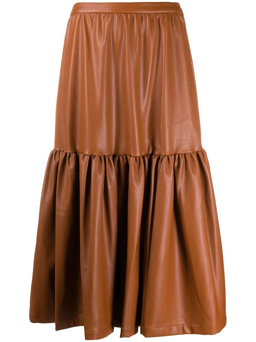 Orchid Vegan Leather Midi Skirt