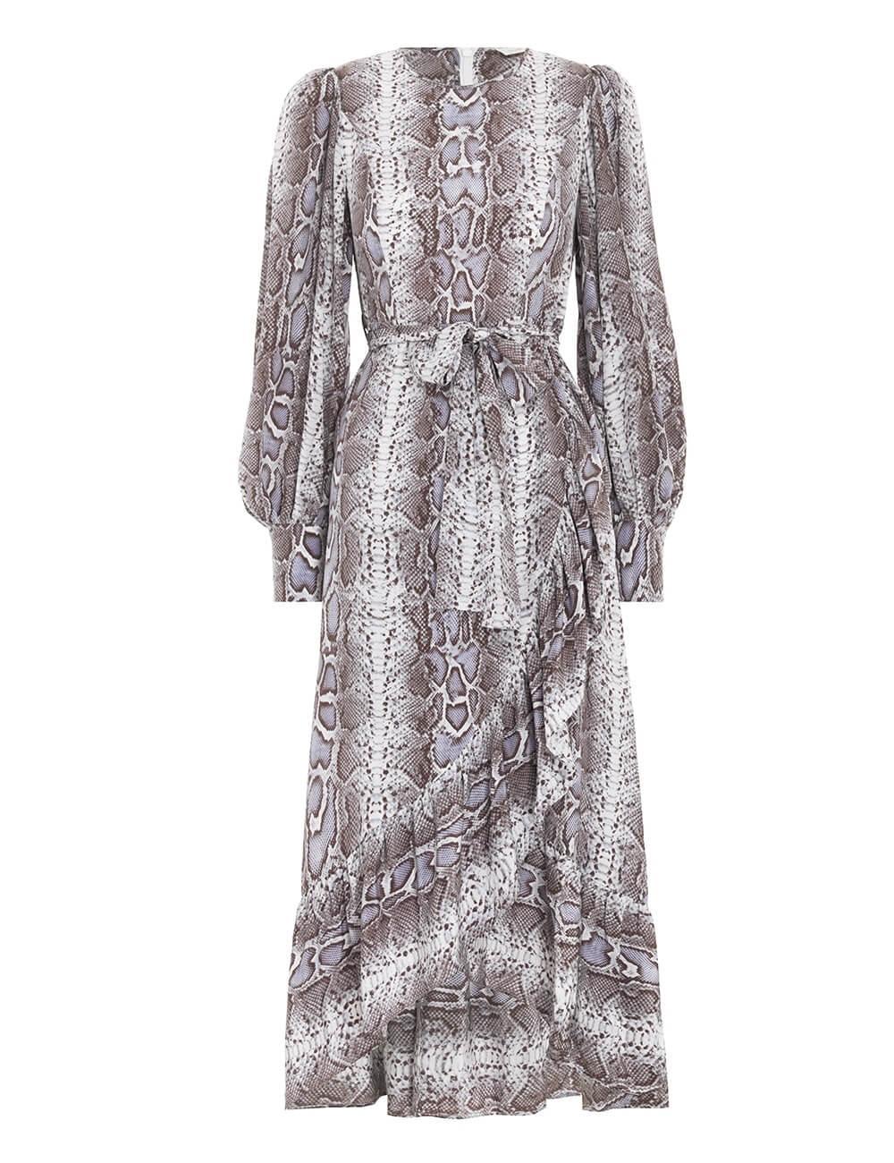 Silk Ruffle Wrap Dress Item # 9215DRLAD