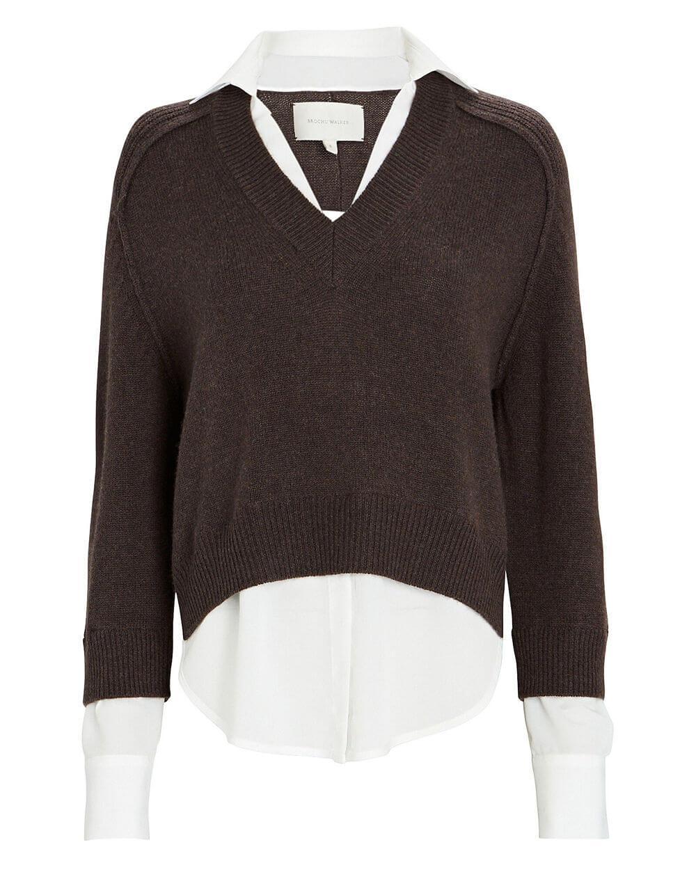 Alum V- Neck Layered Looker Sweater Item # JER3416